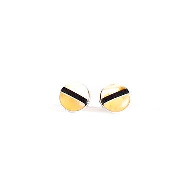 Pureosity Amber and Wood Stud Earrings
