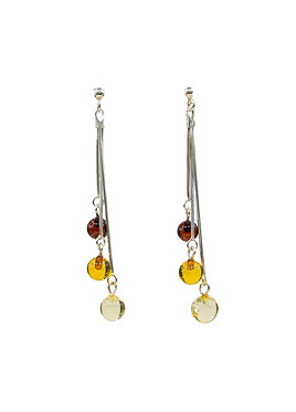 Pureosity Round Mixed Amber Dangle Earrings