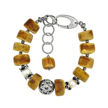 Pureosity Old Amber Silver Bracelet