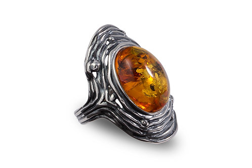 Amber Silver Ring