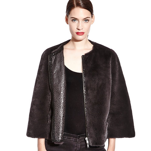 Reversible mink jacket with printed leather