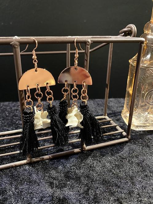 Cat Verterbra Tassel Earrings