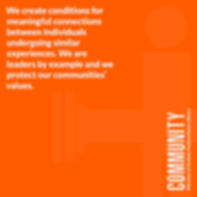 Orange image that read Community we create conditions for meaningful connections between individuals undergoing similar experiences. We are leaders by example and we protect our communities values.