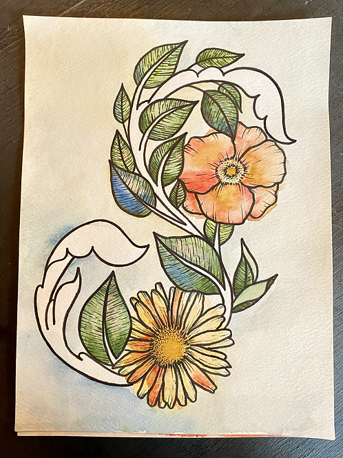 Floral watercolor and ink
