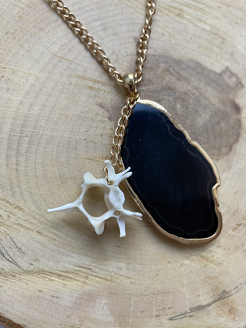 Obsidian cat vertebrae necklace