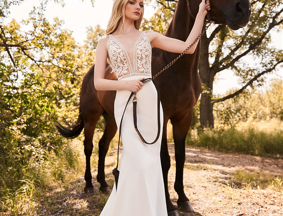 2297 | Crepe Guipure Lace Fit and Flare Wedding Dress by Mikaella