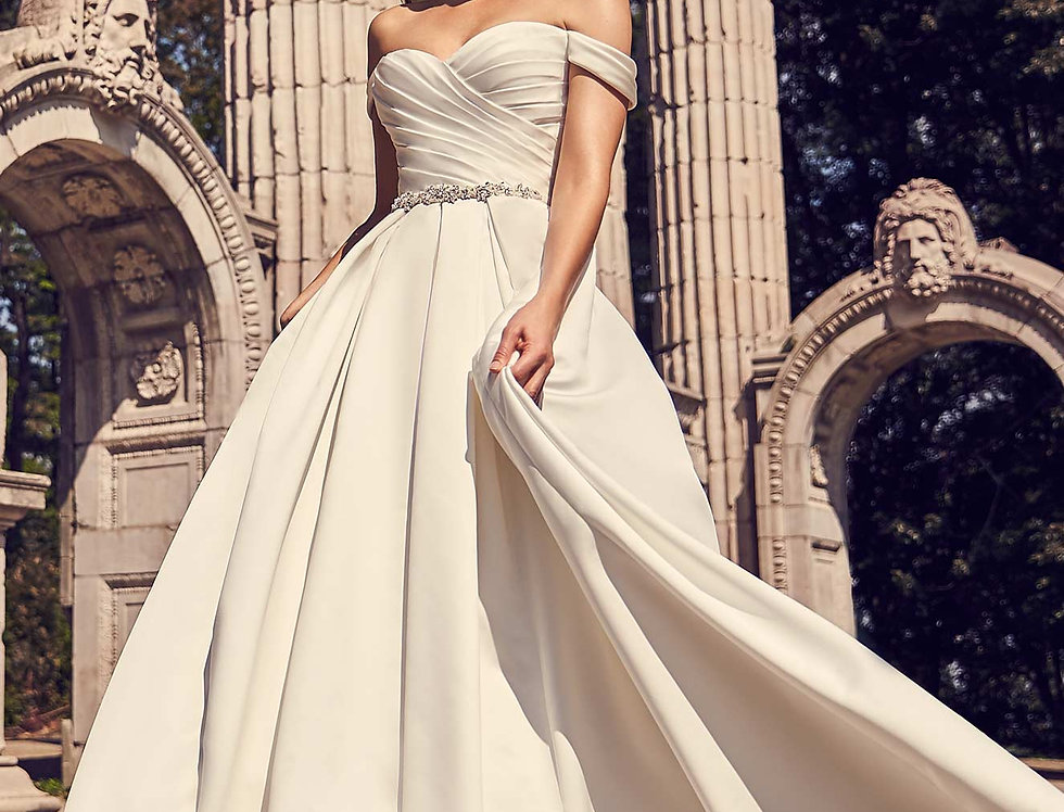 2243 | Draped Sleeve Ball Gown by Mikaella