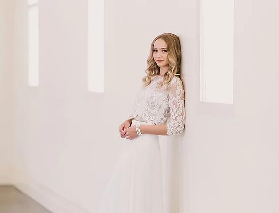 Samara & Ingrid | Soft Sleek 2-Piece Wedding Dress by Wendy Makin