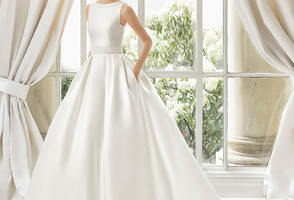 Mailys | Classic Bateau Neck Wedding Dress by Rosa Clara Couture