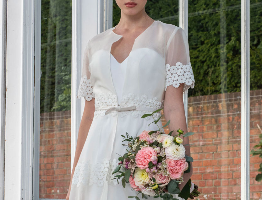 Blair | Embroidered Jacket and Slimline Strapless Wedding Dress by Freda Bennet