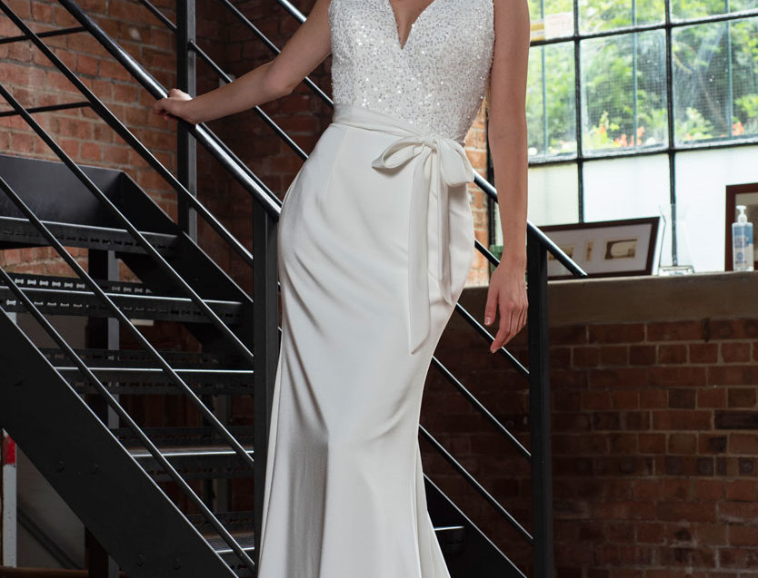 Hope | Sequined Crepe Wedding Gown by Freda Bennet