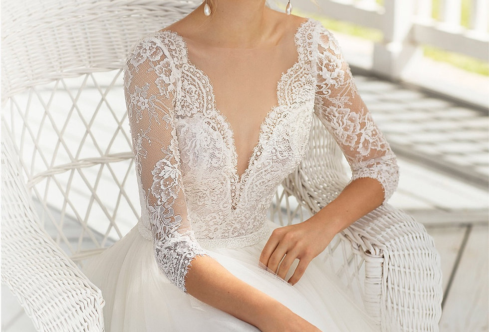 Corfu | Lace Sleeve Tulle Ballgown by Rosa Clara