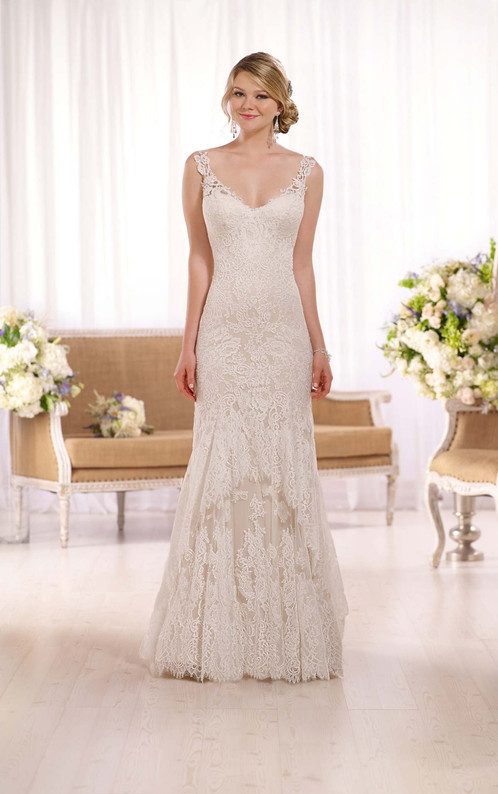 D2065 Romantic Lace Wedding Gown Dress By Essense Of Australia - Romantic Lace Wedding Dress