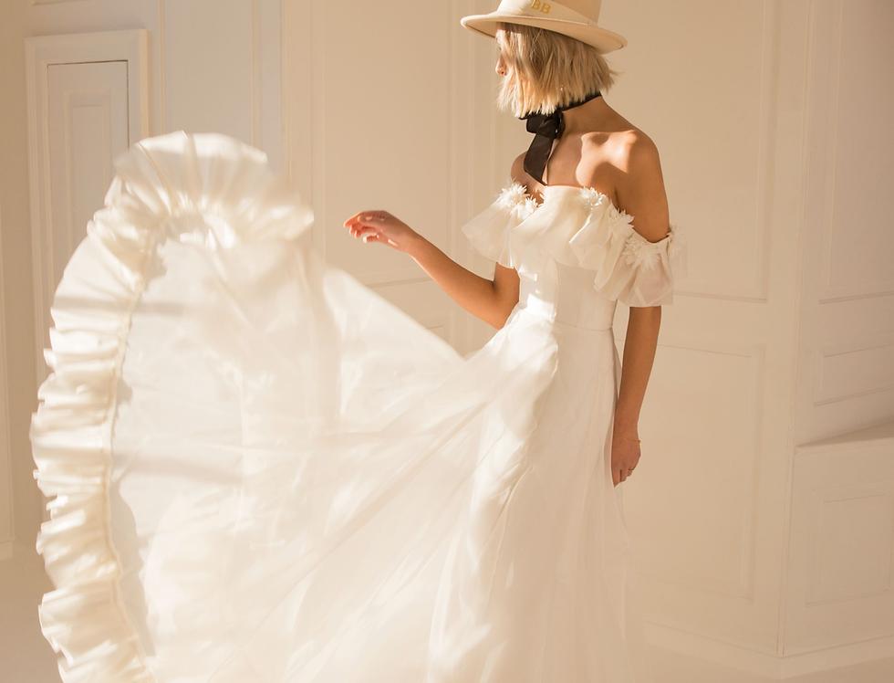 Sienna |  3D Flower Off Shoulder Wedding Dress by Freda Bennet