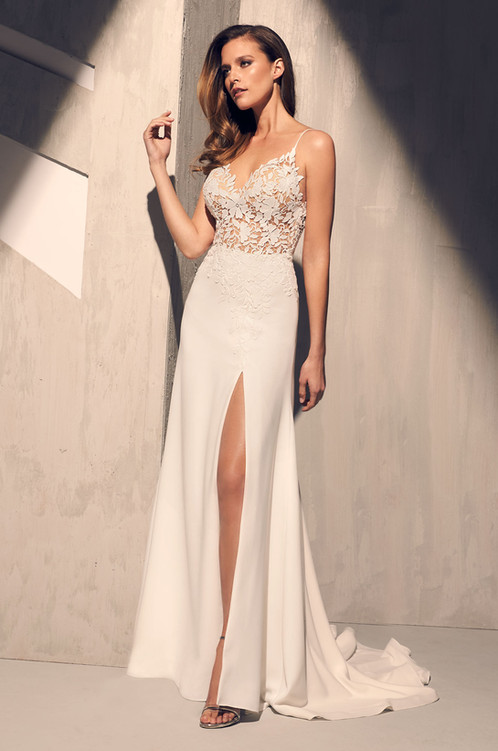 2208 | Guipure Lace & Crepe Wedding Dress by Mikaella