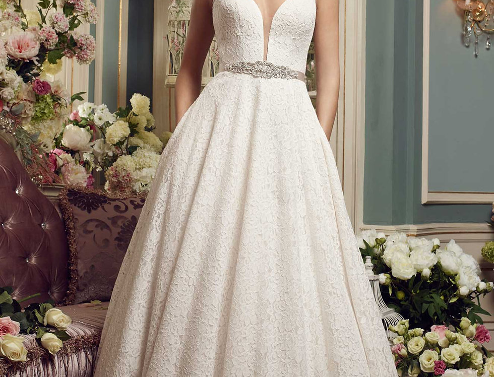 2167   Lace Wedding Dress by Mikaella