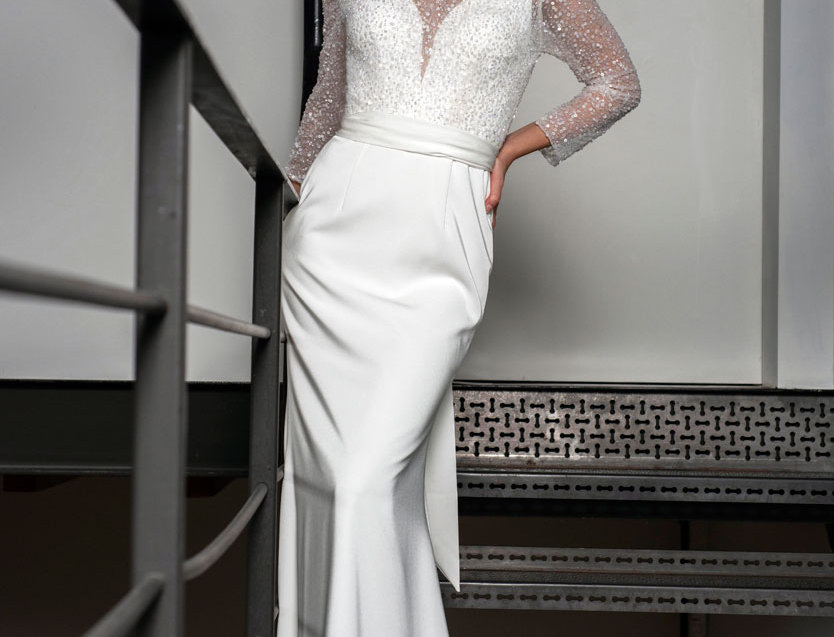 Brooke | Sequined Long Sleeve Wedding Gown by Freda Bennet
