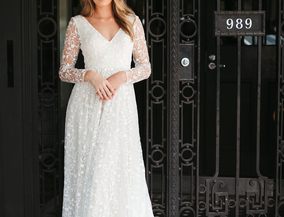 Luxembourg | A-line Long Sleeve Wedding Dress by Wendy Makin