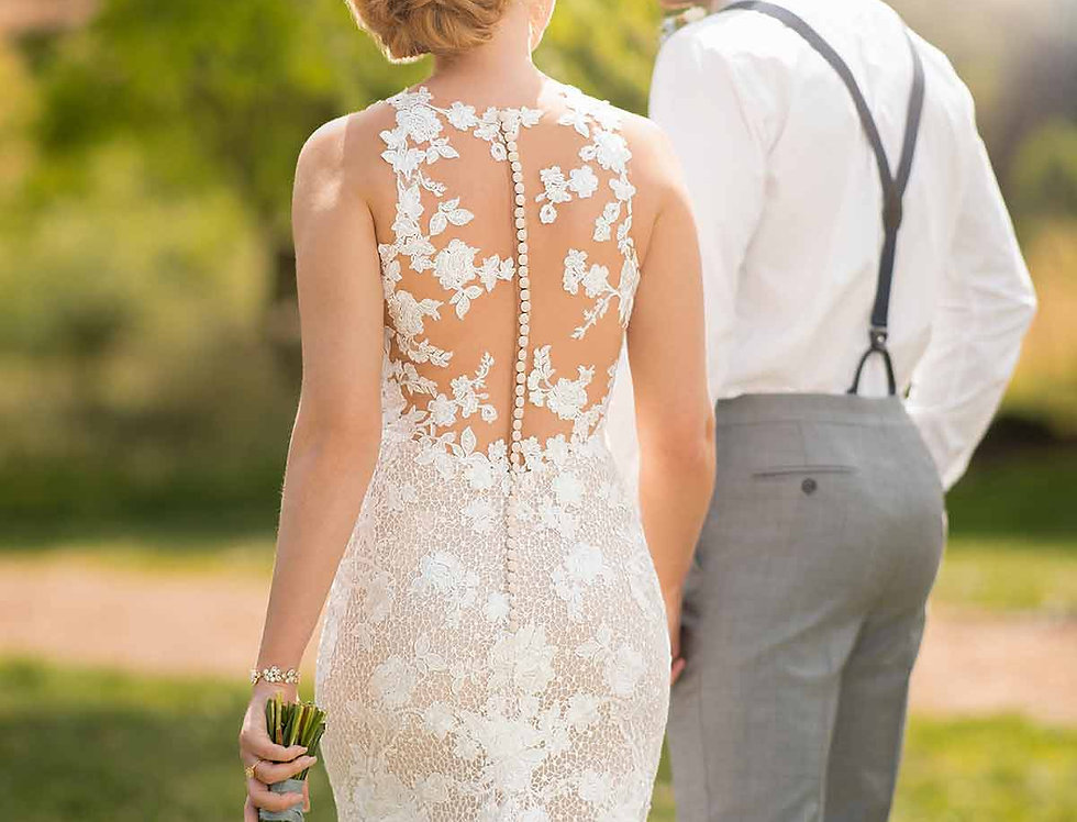 D2682 | Graphic Lace Wedding Dress by Essense of Australia