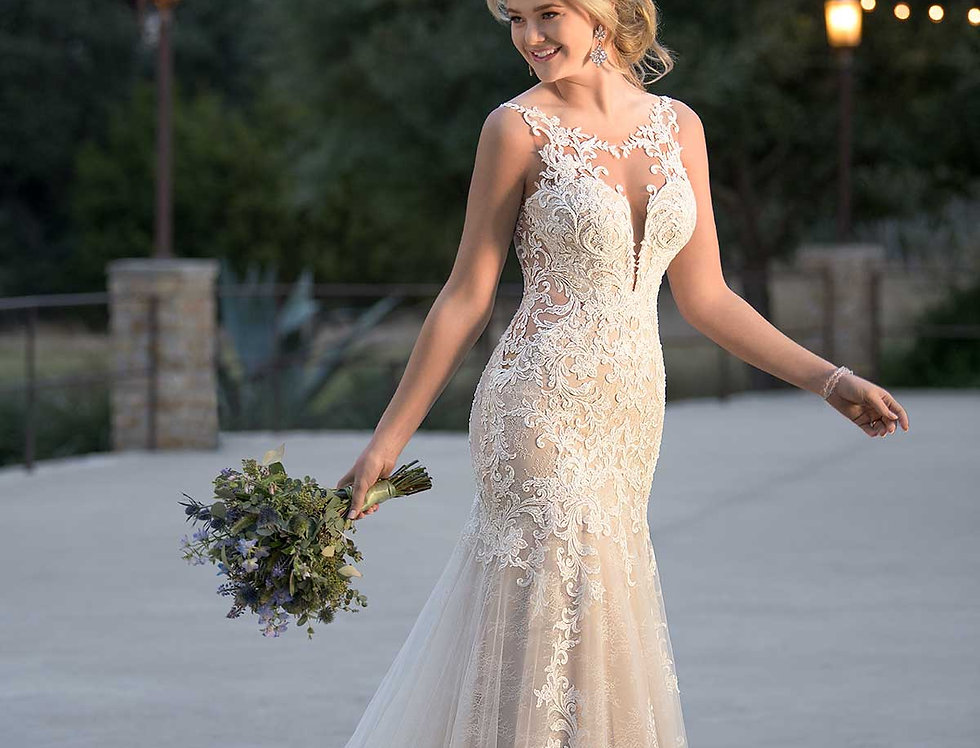 D2548 | Plunging Neckline Wedding Dress by Essense of Australia