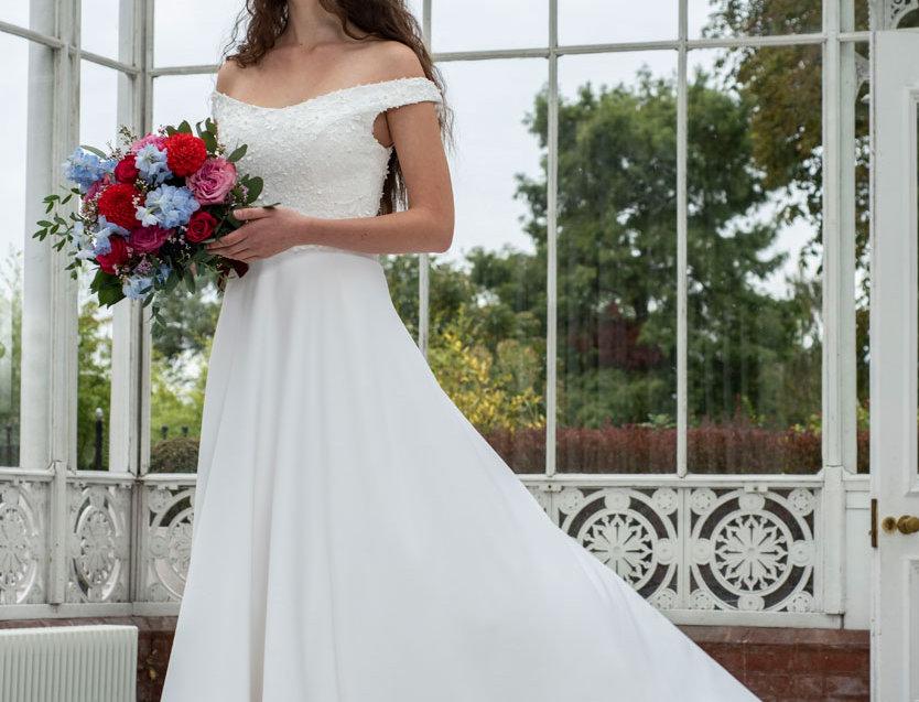 Eden |  Off The Shoulder 3D Flower Wedding Dress by Freda Bennet