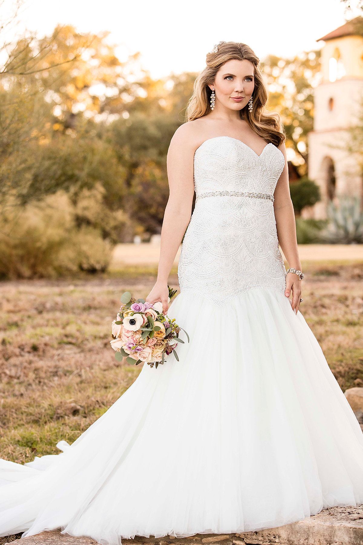 D2029 Curve Hugging Plus Size Wedding Dress By Essense Of Australia