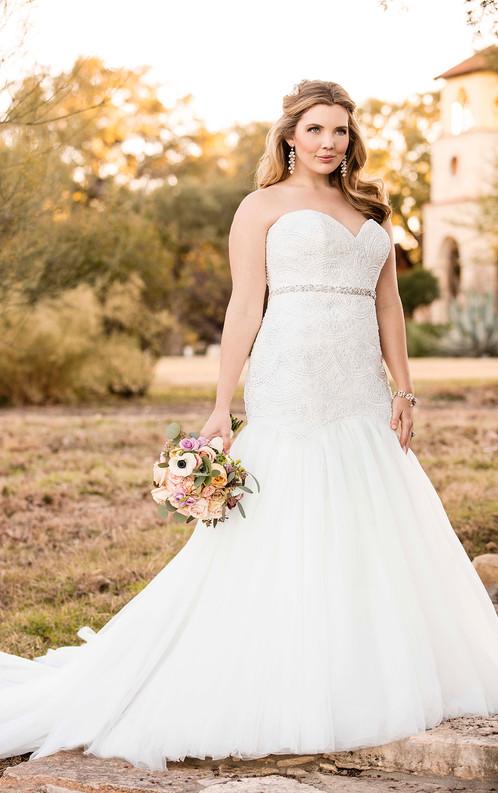 D2029 Curve Hugging Plus Size Wedding Dress By Essense Of Australia