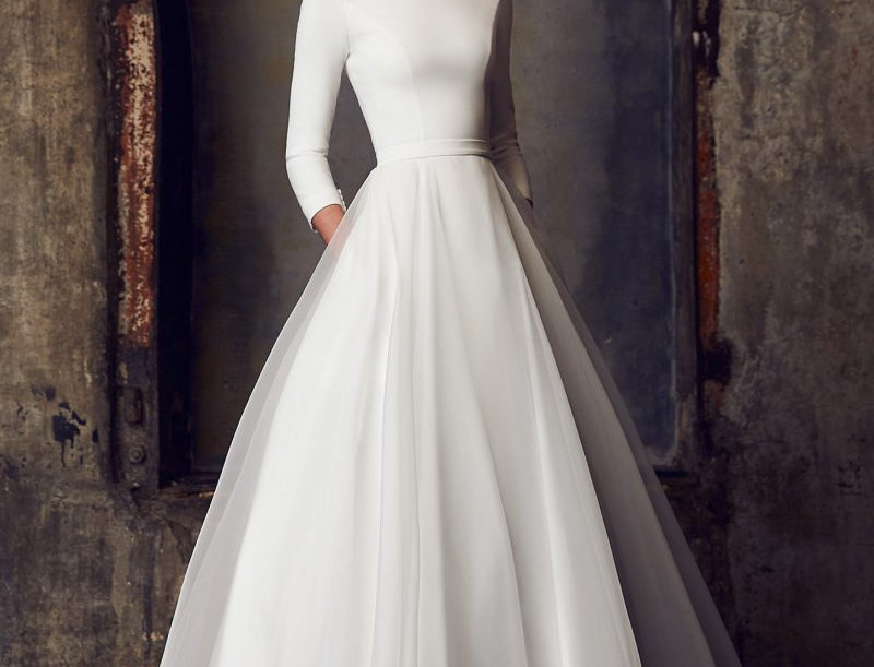 2308 | Boat Neck Wedding Dress by Mikaella