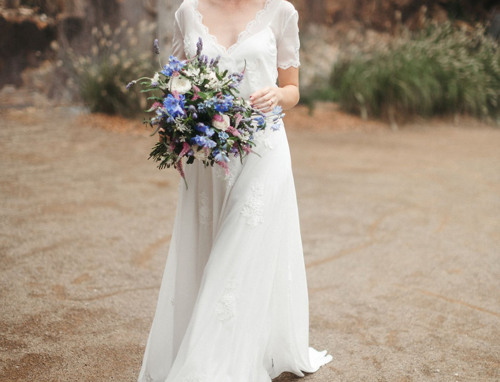 Magnolia | A-line Embroidered Wedding Dress by Wendy Makin