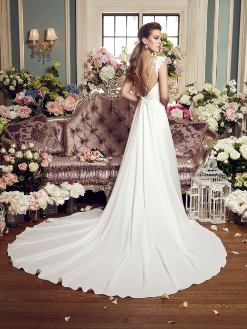 2160 | Guipure Lace and Crêpe Wedding Dress by Mikaella