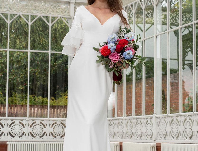 Hallie |  Flared Sleeve Column Wedding Dress by Freda Bennet