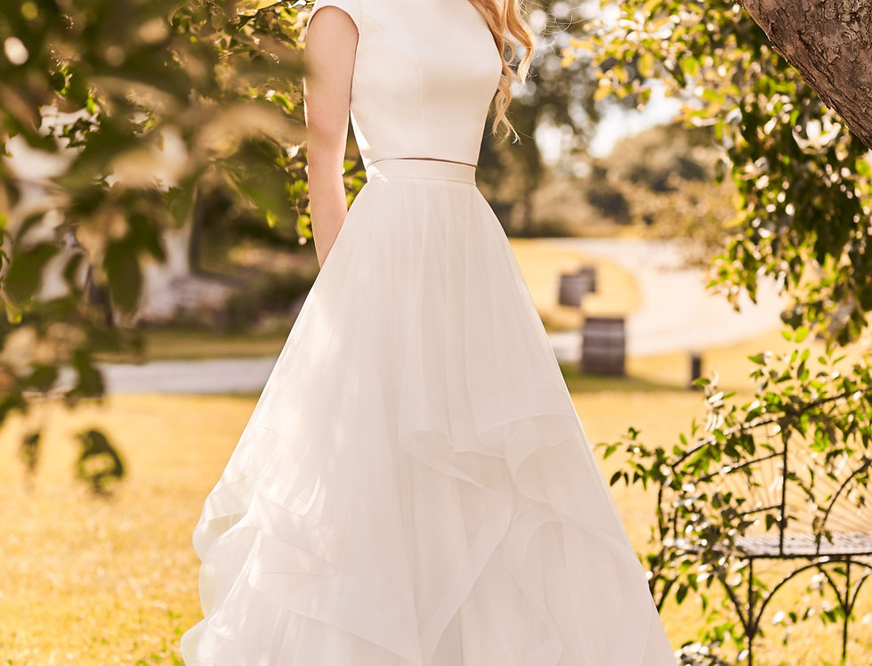 2298 | Crepe and Tulle 2 piece Wedding Dress by Mikaella