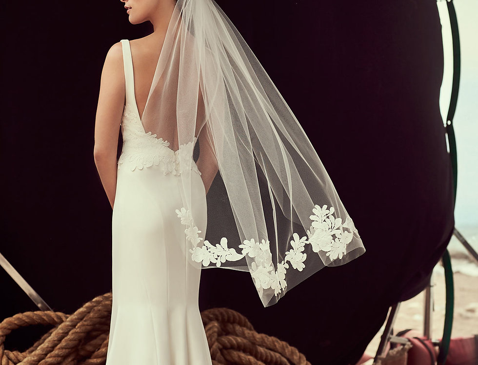 VM481F Veil with Guipure Lace Edge