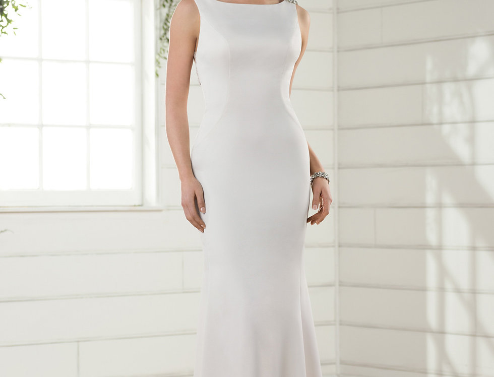 D2357 | Boat Neck Wedding Dress With Deep V Back by Essense of Australia