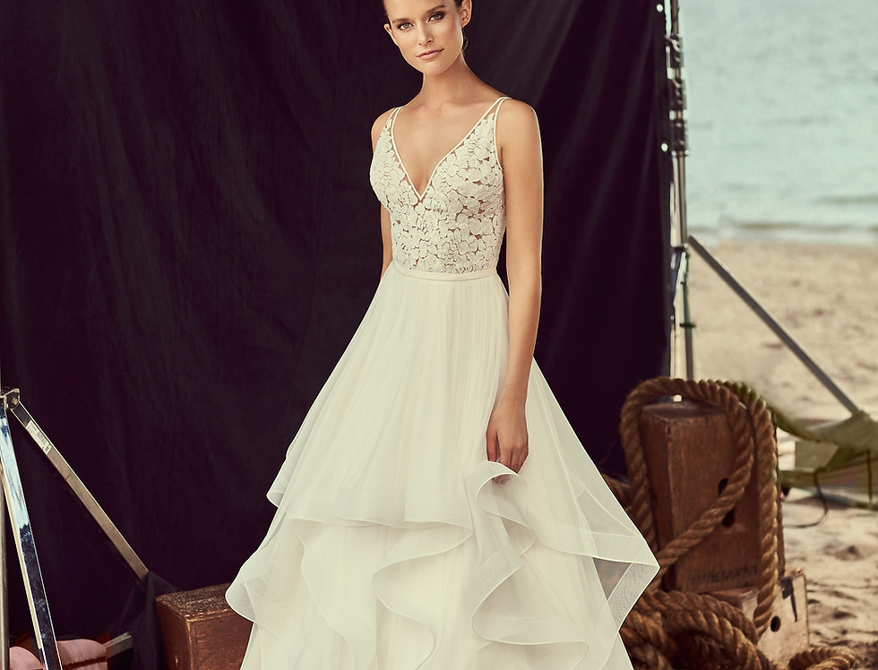 2191 | Layered Tulle and Mesh Wedding Dress by Mikaella