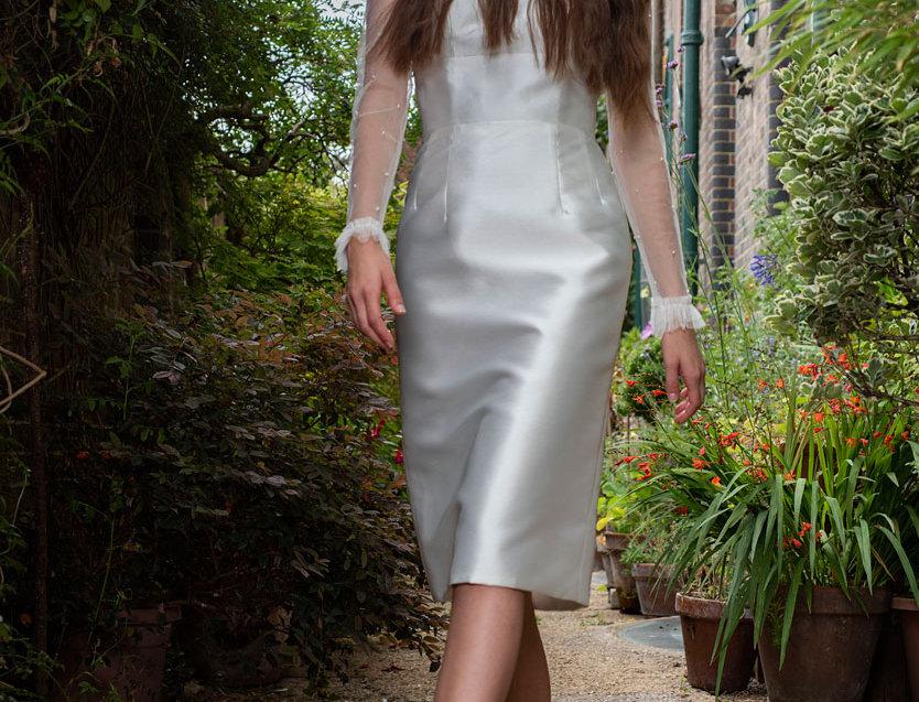 Faith | Short Fitted Mikado Wedding Dress by Freda Bennet