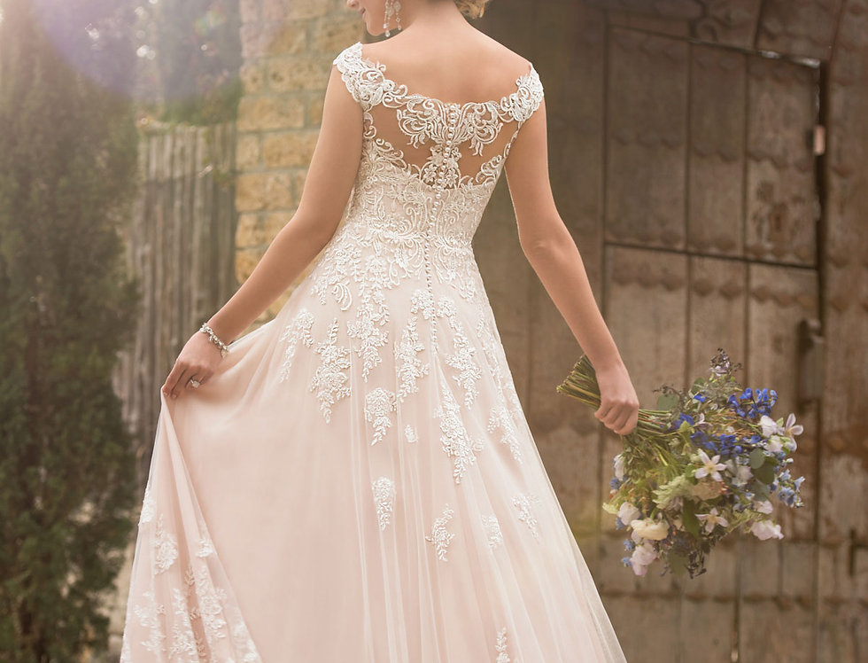 D2327 | Off The Shoulder Boho Wedding Gown by Essense of Australia