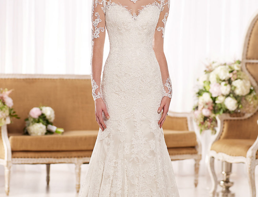 D1863 | Illusion Back Vintage Style Wedding Gown by Essense of Australia