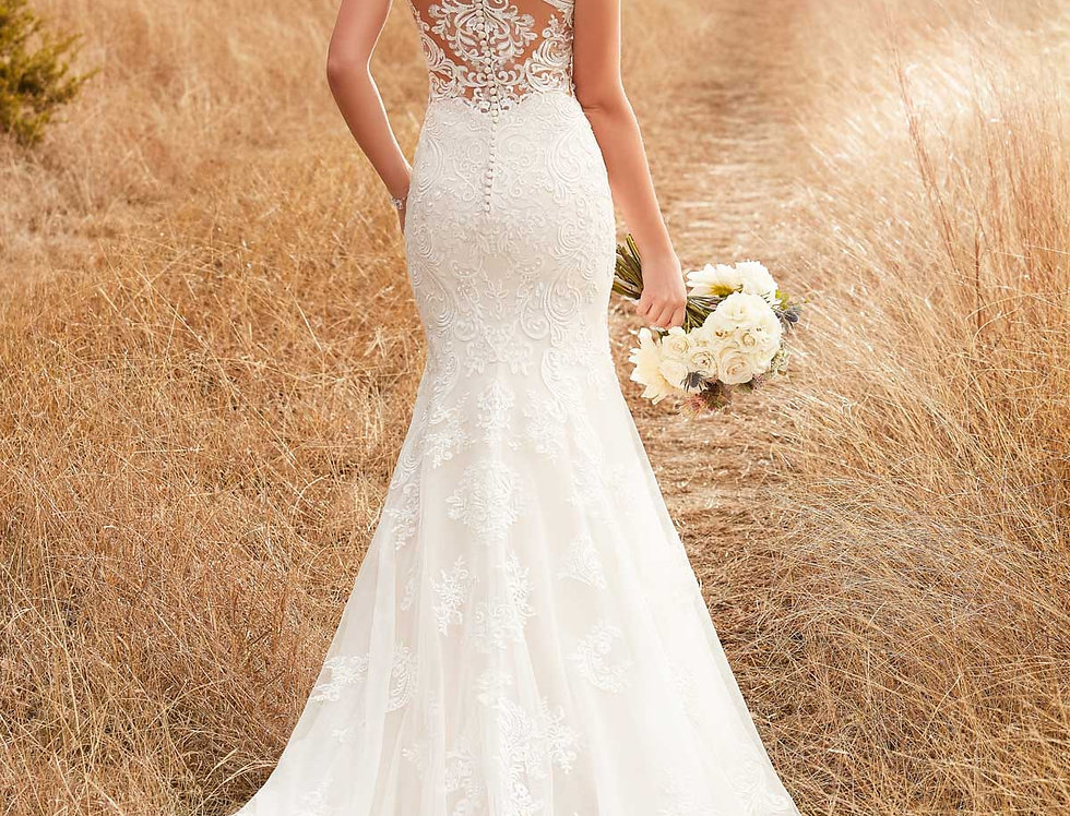 D2322 | Column Backless Wedding Dress by Essense of Australia
