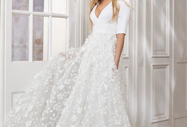 Kayla | Crepe Sleeve 3D Floral Wedding Dress by Savin London