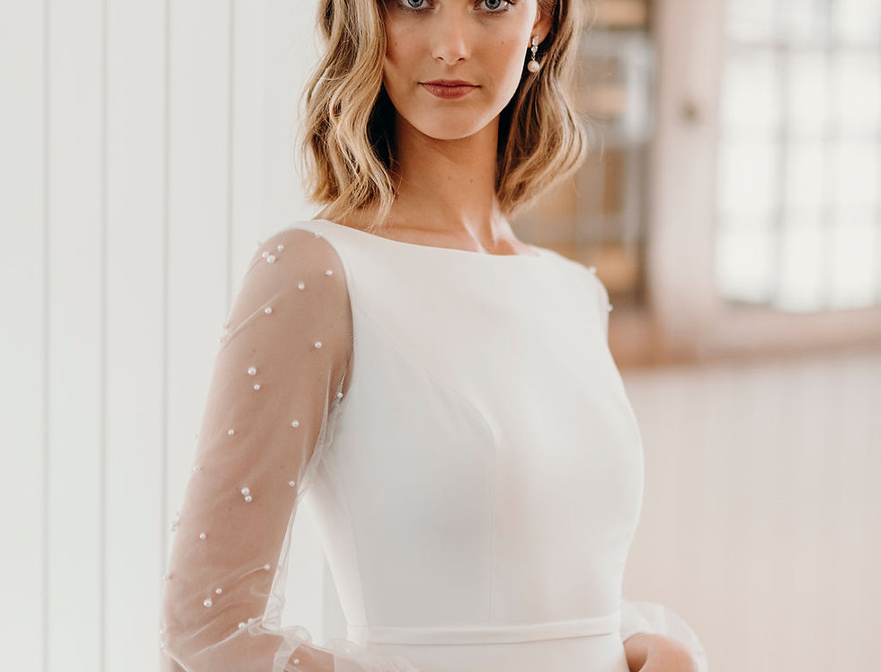 Pearl | Fit and Flare Long Sleeve Wedding Dress by Wendy Makin