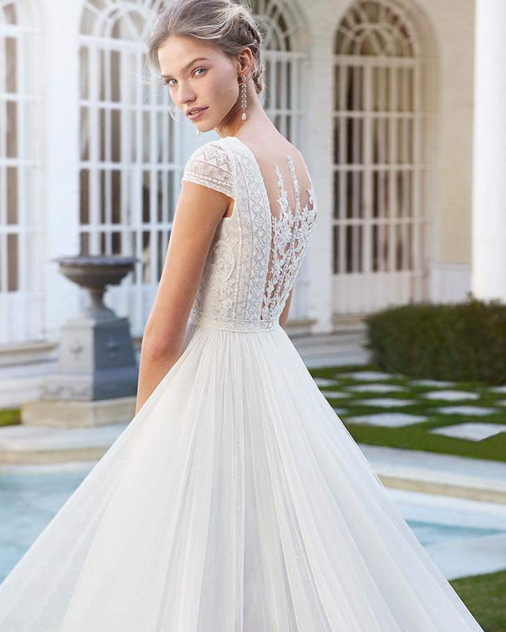 Lace cap sleeve princess style dress