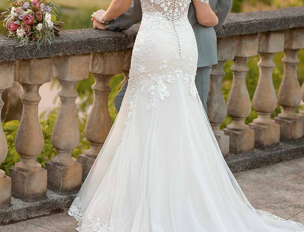 D2642 | Silver Embroidered Wedding Dress by Essense of Australia