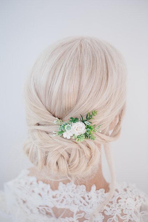 Blumenkranz Braut Hochzeit Haarkranz Blumen Haarschmuck Oktoberfest Kranz Kopfschmuck EukalyptusSukkulentenKamm Spange Clip