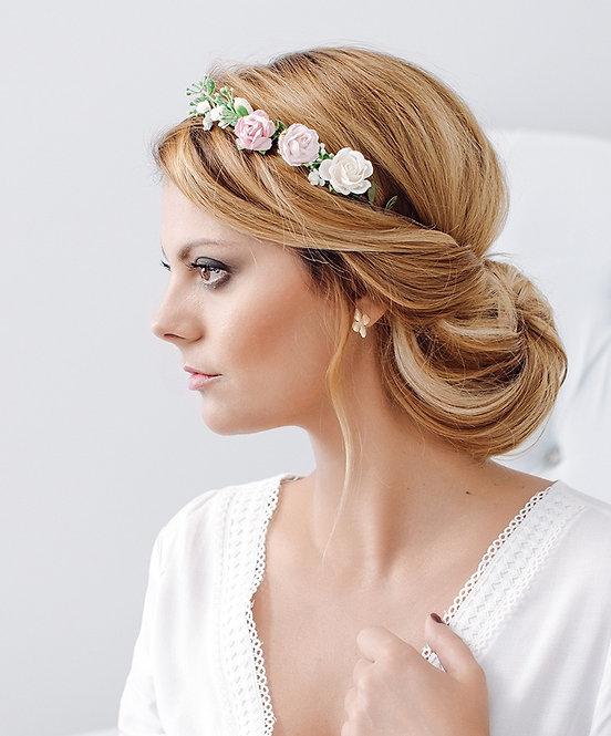 Blumenkranz Braut Hochzeit Haarkranz Blumen Haarschmuck Brautjungfern Oktoberfest Kranz Kopfschmuck Haarband rosa pink weiß