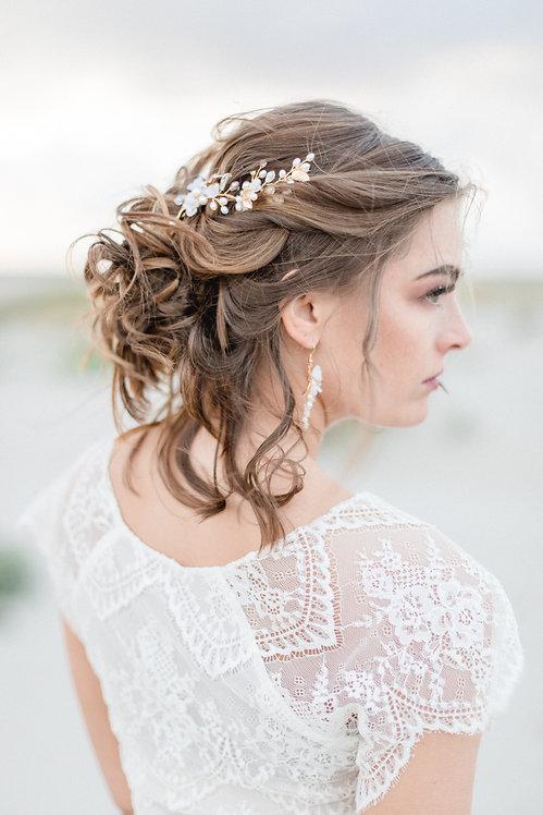 Braut Haarschmuck Headpiece Hochzeit Fascinator Kopfschmuck Perlen Strass haarkamm spange blumen braut blüte Brautfrisur