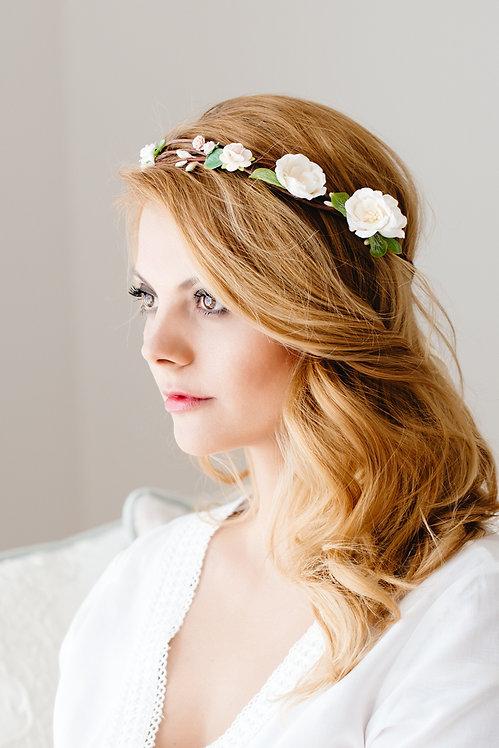 Blumenkranz Braut Hochzeit Haarkranz Blumen Haarschmuck Brautjungfern Oktoberfest Kranz Kopfschmuck Haarband eucalyptus rose