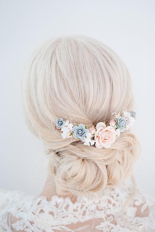 Blumenkranz Braut Hochzeit Haarkranz Blumen Haarschmuck Oktoberfest Kranz Kopfschmuck Kamm Haarblumen rose