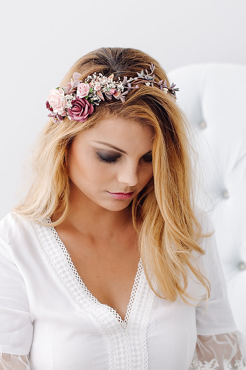 Blumenkranz Braut Hochzeit Haarkranz Blumen Haarschmuck Brautjungfern Oktoberfest Kranz Kopfschmuck HaarbandEukalyptus rot