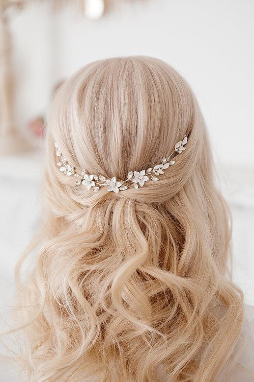 Braut Haarschmuck Hochzeit Headpiece Fascinator Haarranke Haardraht Draht Ranke Braut Haarblumen Haargesteck Spange silber